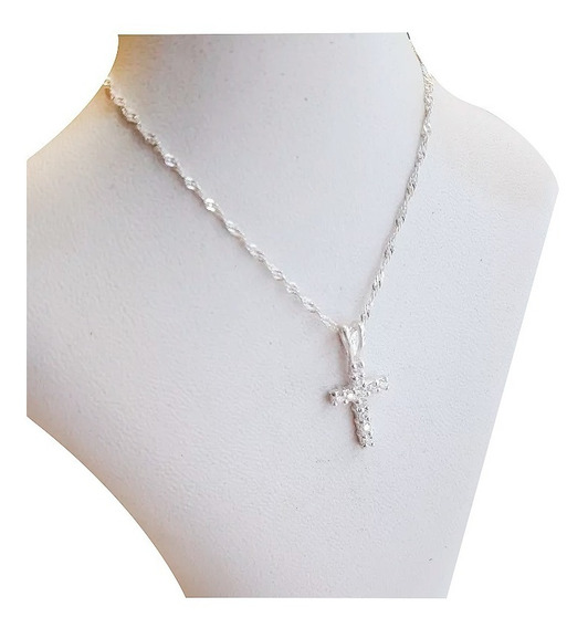 Conjunto Cadena Con Dije Plata 925 Y Cristales Cruz Pequeña