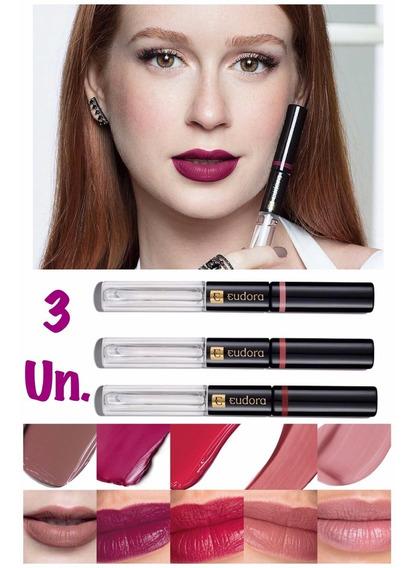Kit 3 Batom Lip Tint Eudora 8ml - Confirme Cor Por Mensagem