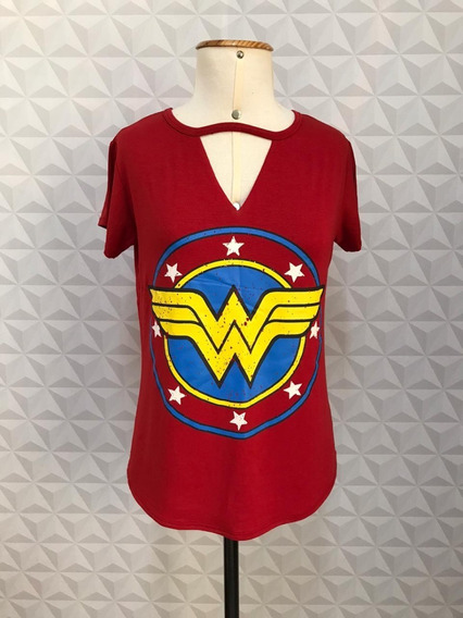 Tshirt Blusa Camiseta Chocker Feminina Mulher Maravilha