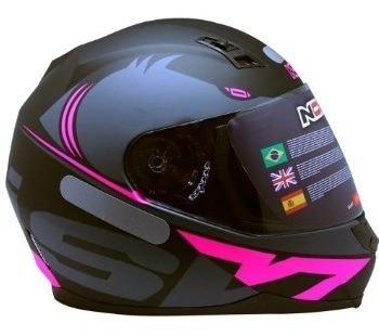 Capacete Motociclista Norisk Ff391 Squalo Preto/rosa