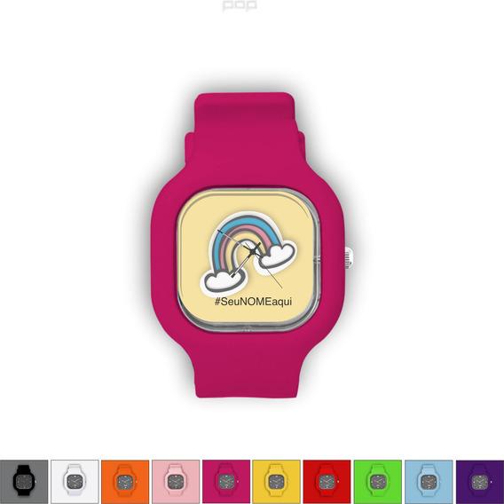 Relógio Pulseira Silicone Troca Cores Resistente Arcoiris