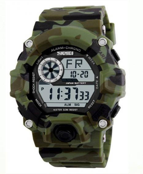 Relógio Pulso Masculino Skmei 1019 Militar Verde Camuflado