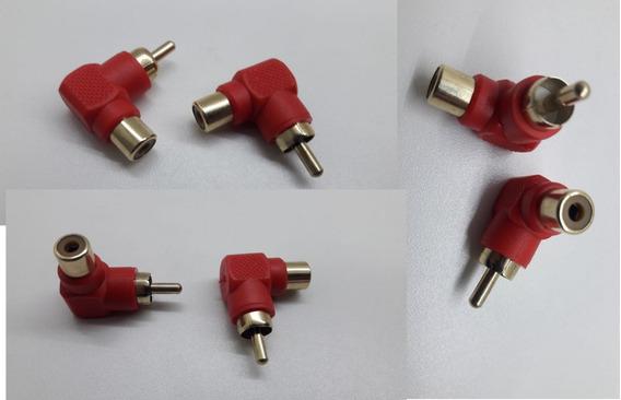 2 Plug Adaptador Rca Macho Femêa L 90º Vermelho Som Carro Tv