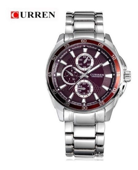 Relógio Masculino Aço Inox Curren 8076 Pronta Entrega