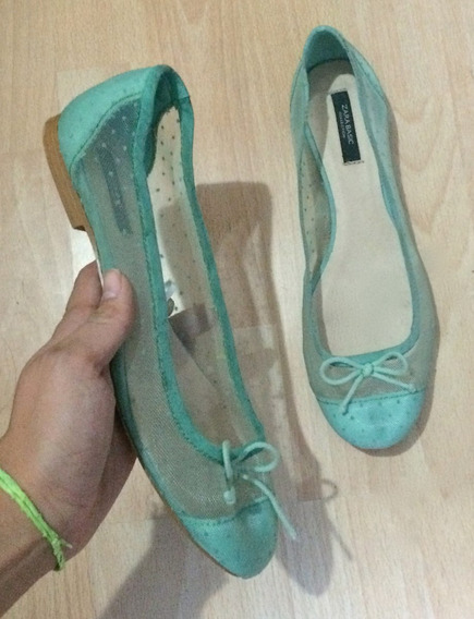 Hermosos Zapatos Flats Zara Turquesa Transparencia Piel!!