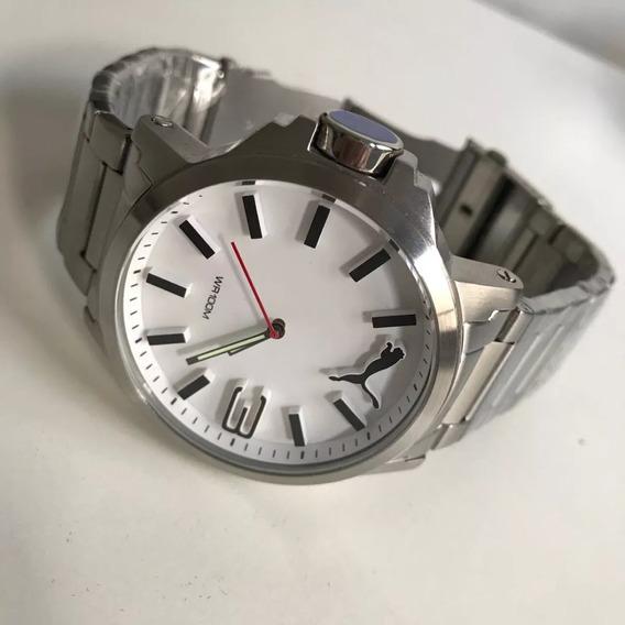 Relógio Puma Prata Fundo Branco