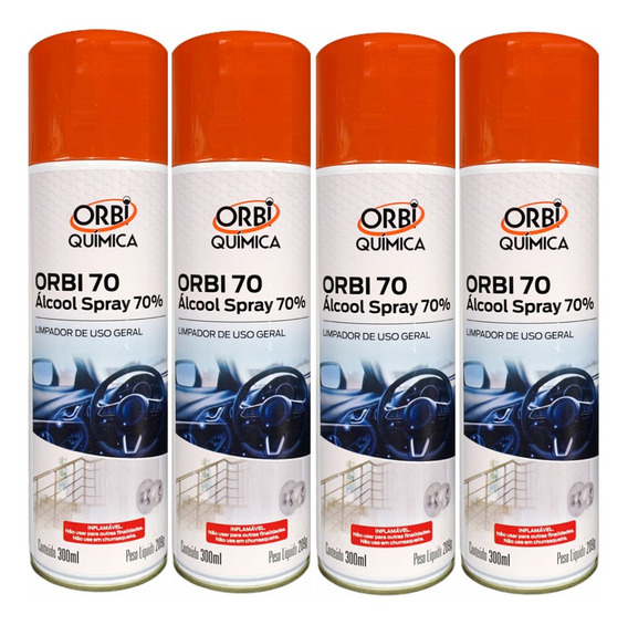 Alcool Spray 70% Limpador De Uso Geral 300ml - 4 Unidades