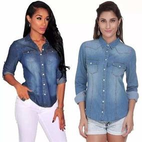 d491e8aaf3 Camisa Jeans Feminina Atacado - Camisa Casual Longa Femininas Azul ...