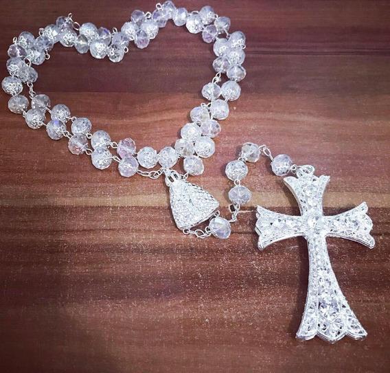 Terço Rosario Da Noiva Banho De Prata Em Cristais