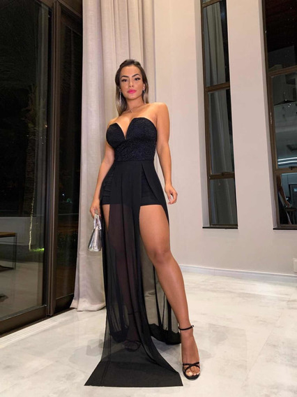Vestido Feminino Social Formatura Festa Fenda Longo Top