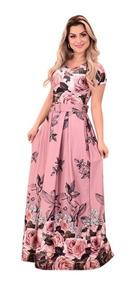 Vestido Longo Estampado Evangelico Comportado Luxo P M Gg G