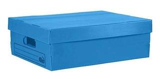 Caja Archivo Plastico Plana 450x350x150 Azul