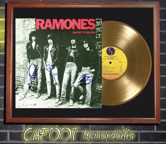 The Ramones Rocket To Russia Tapa Lp Firmada Y Disco Oro
