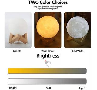 Lampara Luna 3d Con Luz Led Y Dimmer 2 Colores 8cm