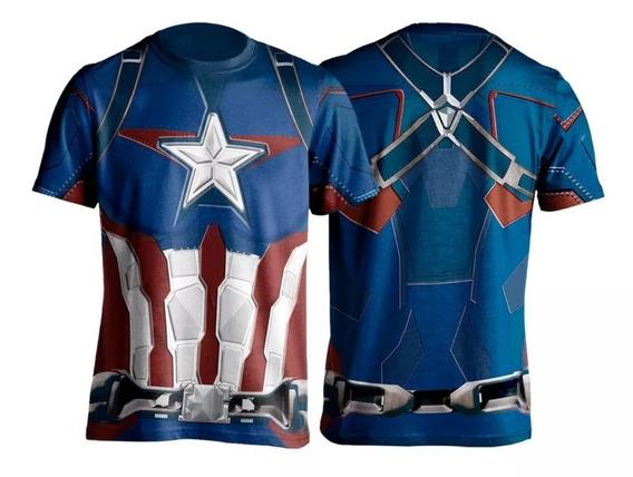 Traje Camiseta Capitão America (combo 2 Camisas)
