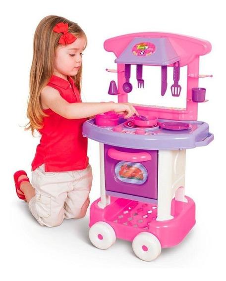 Cozinha Infantil Completa Menina Rosa Play Time Cotiplas