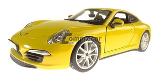 Miniatura Porsche 911 Carrera S Amarelo Bburago 1/24
