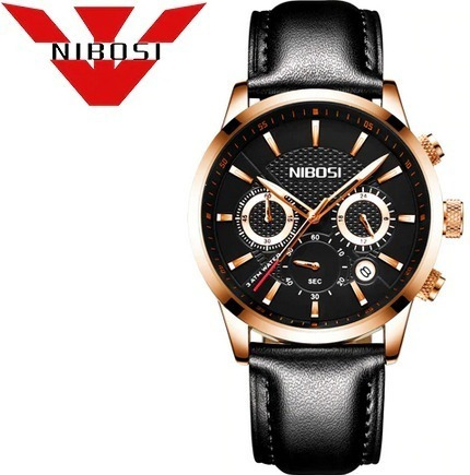 Relógio Masc Nibosi 2313 Pulseira Couro Frete Grátis 12x