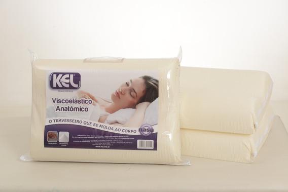 Travesseiros Nasa Viscoelástico Kit C/3un Anatômico 14cm Alt