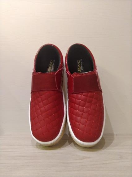 Tênis Slip On - Urbano - Vermelho\branco\rose\preto