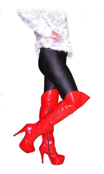 Botas Bucaneras Talle 37 Charol En Color Rojo Plataforma