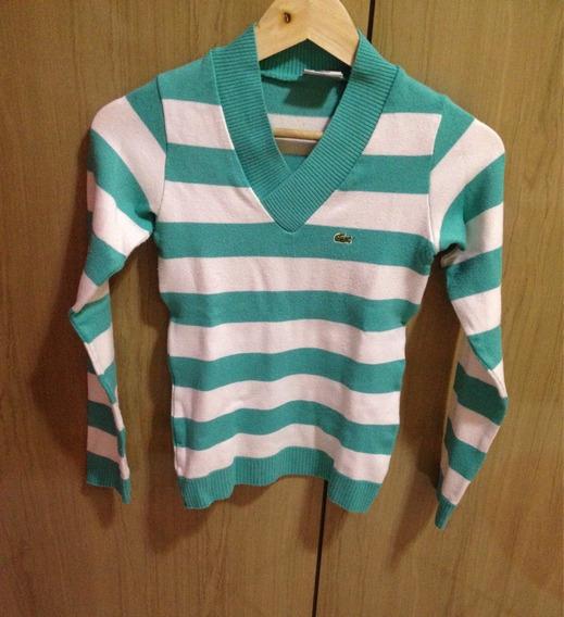 Blusa Suéter Fio Manga Longa Listras Brancas /verdes Inverno