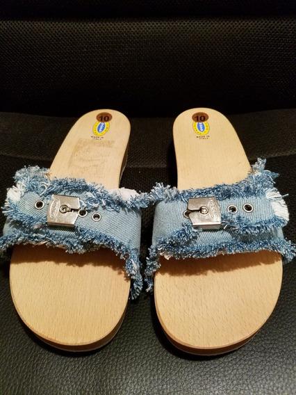 Tamanco Dr Scholls Italiano Tiras Em Jeans Cx 20