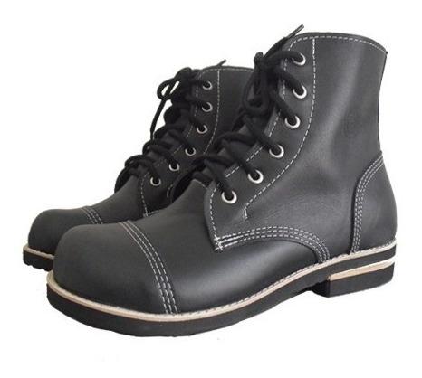 Coturno Vilela Boots Moto Rock 100% Couro Cano Baixo