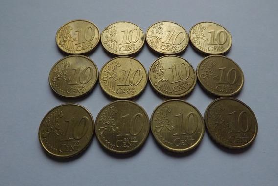 12 Moedas 10 Cents De Euro 1999 A 2009 Conforme Fotos