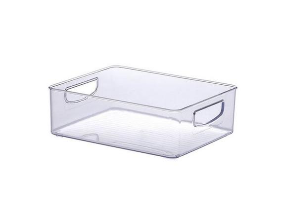 3 Cestos Organizadores Com Alça Transparente 25 X 20 X 8 Cm