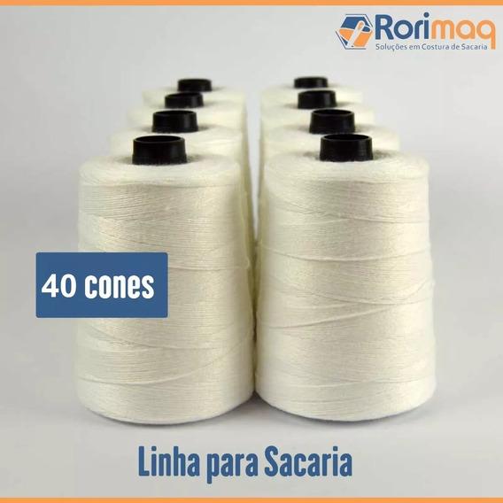 Linha Fio P/ Costurar Sacaria Caixa Com 40 Cones 250g