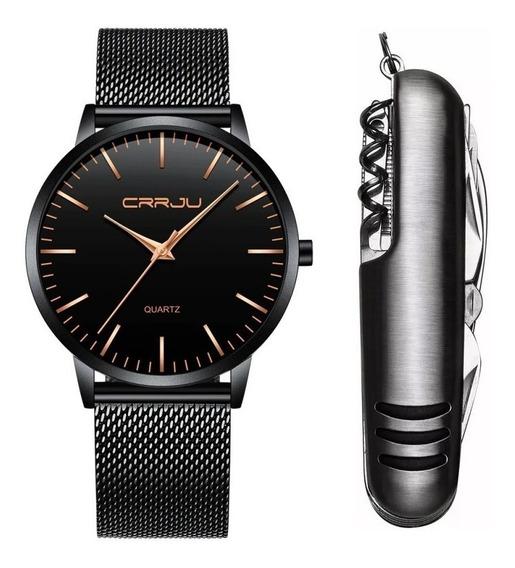 Relógio Ultra Fino Masculino Luxo Preto E Dourado + Canivete