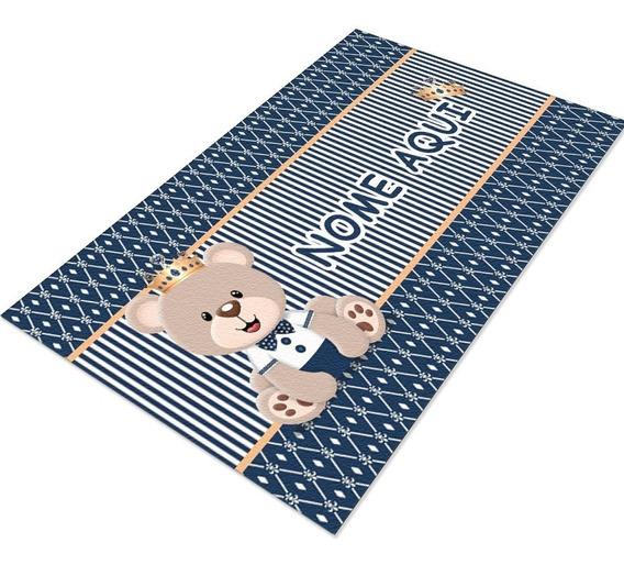 Tapete Infantil Ursinho Principe 60x120   Nome Personalizado