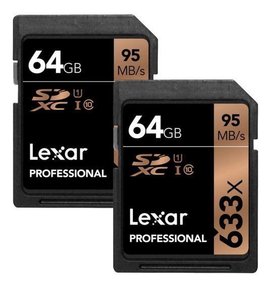 Cartão De Memória Sdxc Lexar 633x 64gb 95mb/s (par - 2und)