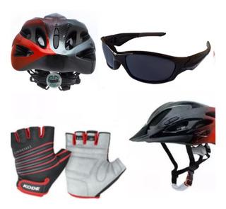 Capacete Bike Led Tsw Raptor+luvas Ciclismo+óculos Esporte