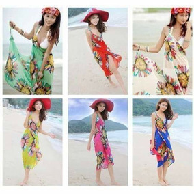 Sexy Pareo Salida De Playa Vestido Envolvente Flores