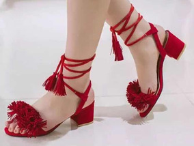 Sandalia Usada Pompom Vermelha Amarração Amarrar Salto Baixo