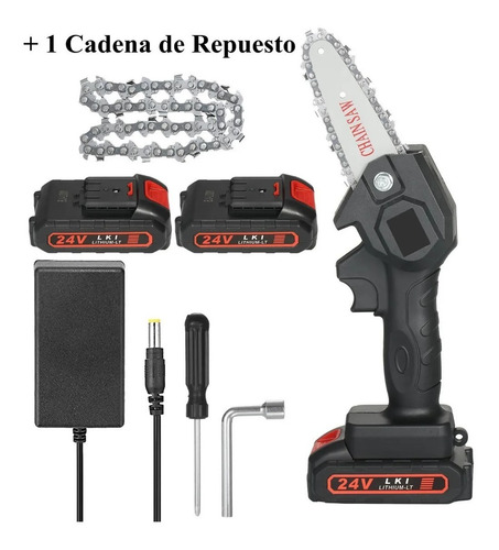 Motosierra Portátil 10cm Con 2 Baterias Y Cadena De Repuesto
