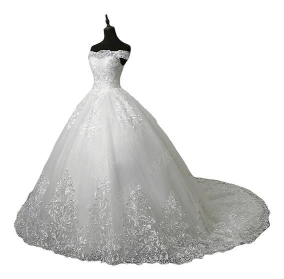 Elegante Vestido De Novia Cola Larga Straples Barato