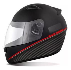 Capacete Moto Spark Black Edition Preto Fosco E Vermelho 58