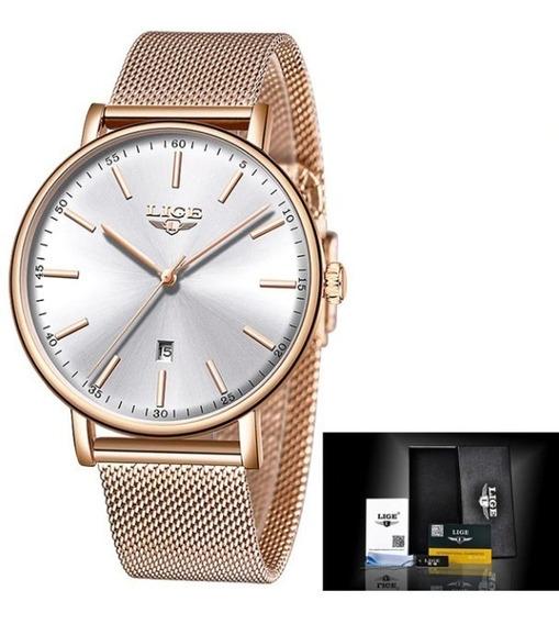 Relógio Feminino Luxo Original Lige Aço Inox Moda Promoção