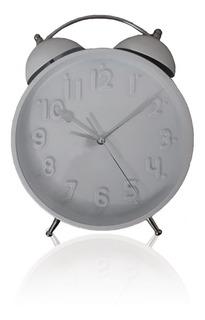 Reloj Despertador Analogico Blanco Con Campanas 22cm