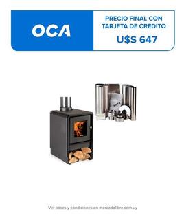 Calefactor Leña Bosca Eco 360 + Kit Chimenea 4m, Pot. 8.7 Kw
