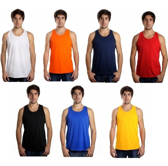 Kit C/10 Camisetas Regata Masculina Lisa Básica Atacado