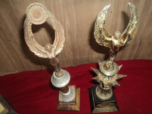 Trofeu 2 Peça Antigo Metal C/base /colecionador /fileee///