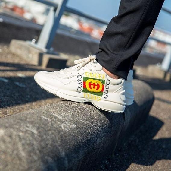 Tênis Gucci Rhynton Couro Branco Logo Lançamento