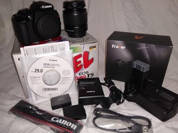 Canon T5, Lente 18-55, Duas Baterias E Grip
