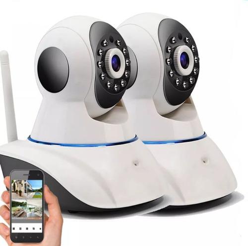Imagen 1 de 8 de Kit X 2 Camara Ip Wifi P2p Hd Seguridad 720p 1.3mp Audio