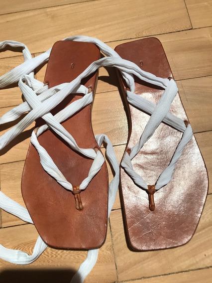 Sandalia Mujer Zapato Sofia De Grecia Blanca Chatita Tiras