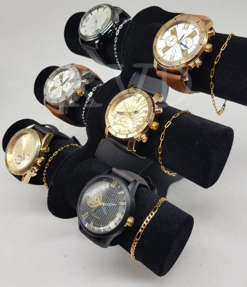 Kit C/10 Relógio Couro Social Masculino + Pulseira Folheada!